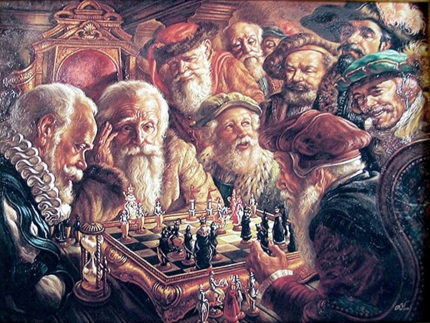 Gemälde Schach spielender Männer