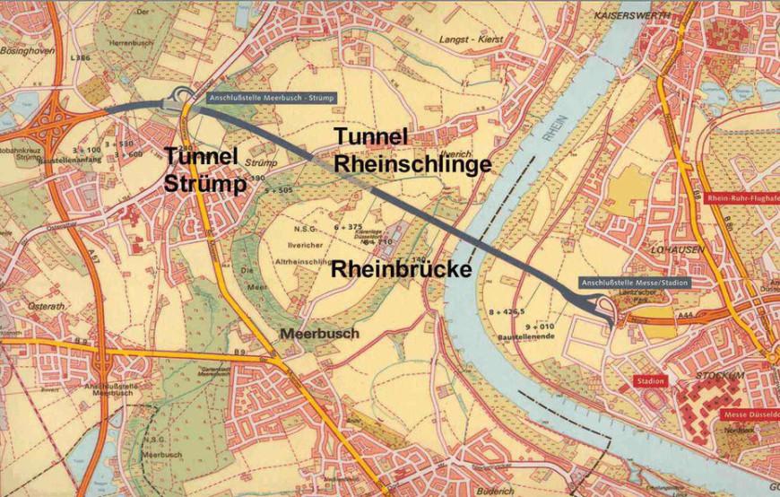 Landkarte und Plan zum Bau der Rheinbrücke