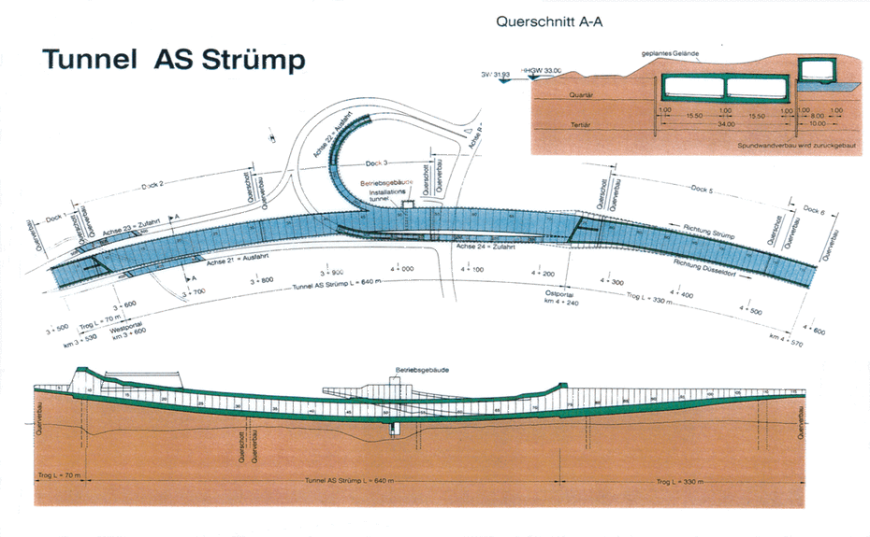 Bauskizze zum Bau des Tunnel AS Strümp