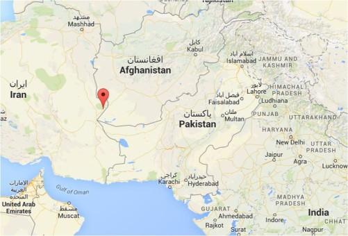 Landkarte Afghanistan, Iran, Pakistan, Nord-Indien
